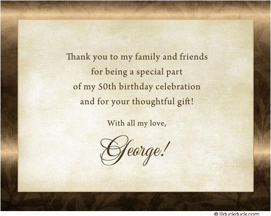 50th Birthday Thank You Card Wording