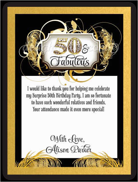 vintage gold and black 50th birthday thank you cards p 5410