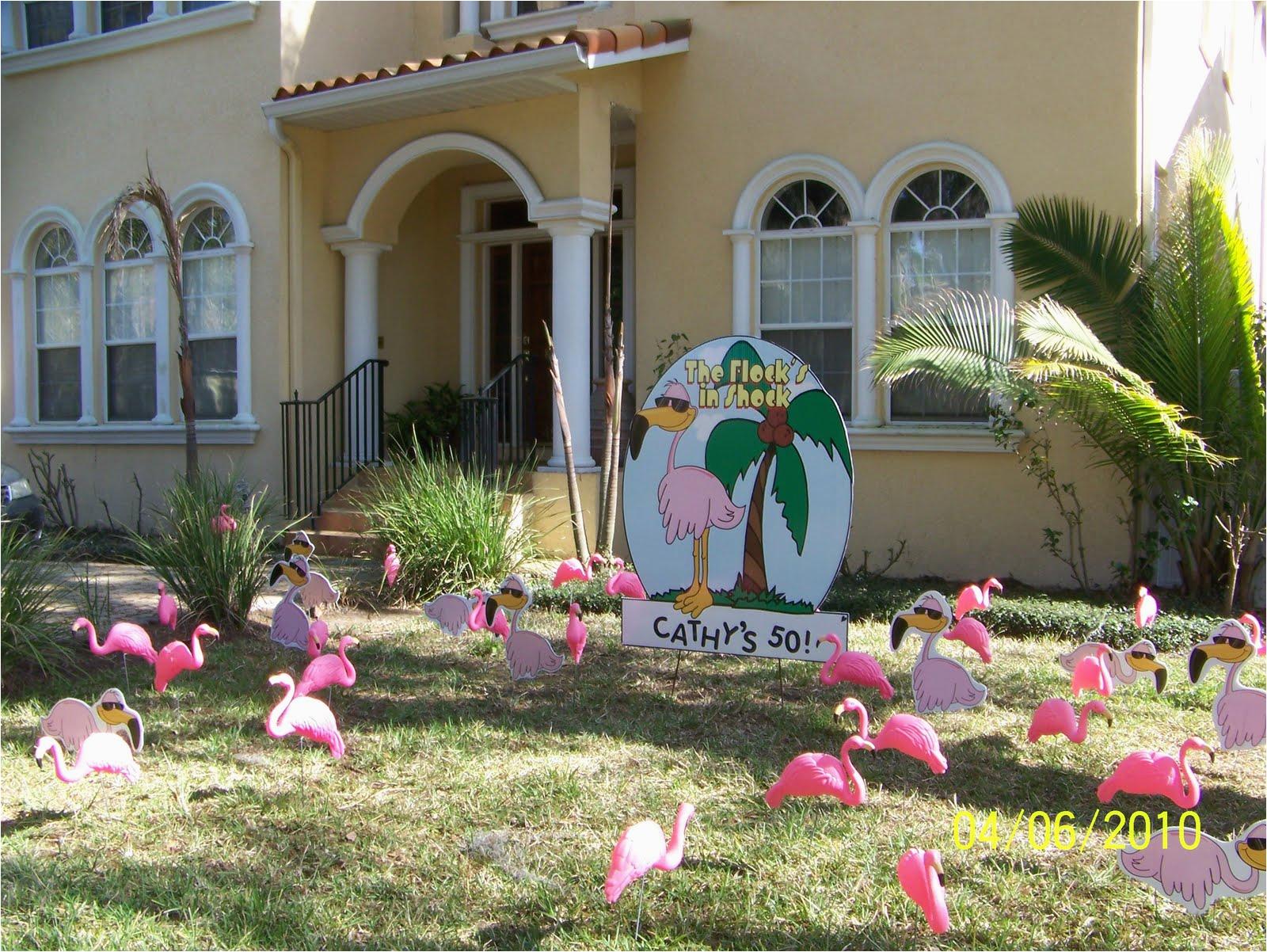 pink flamingos happy birthday lawn