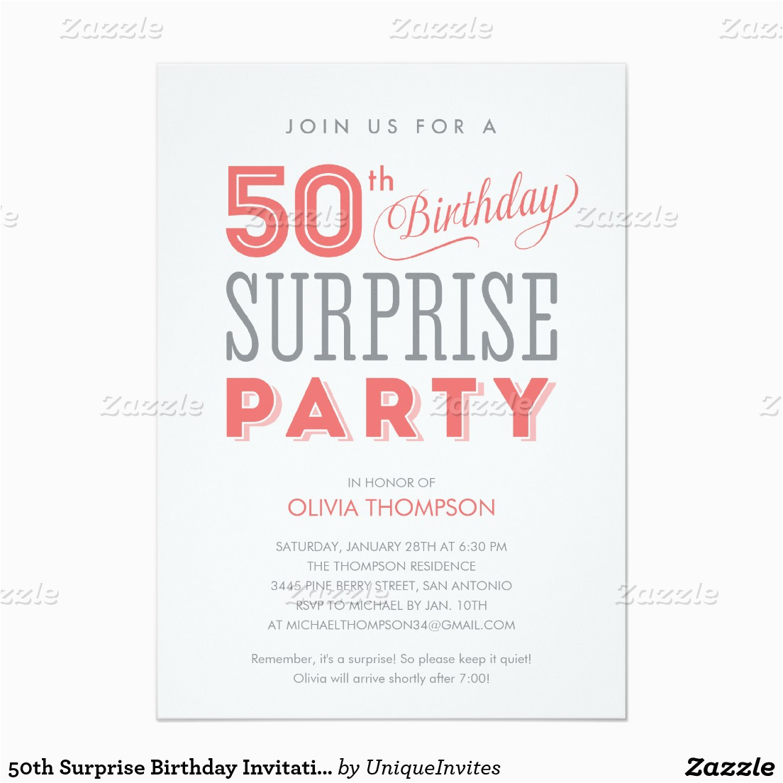 50th Surprise Birthday Invites Party Invitation Wording