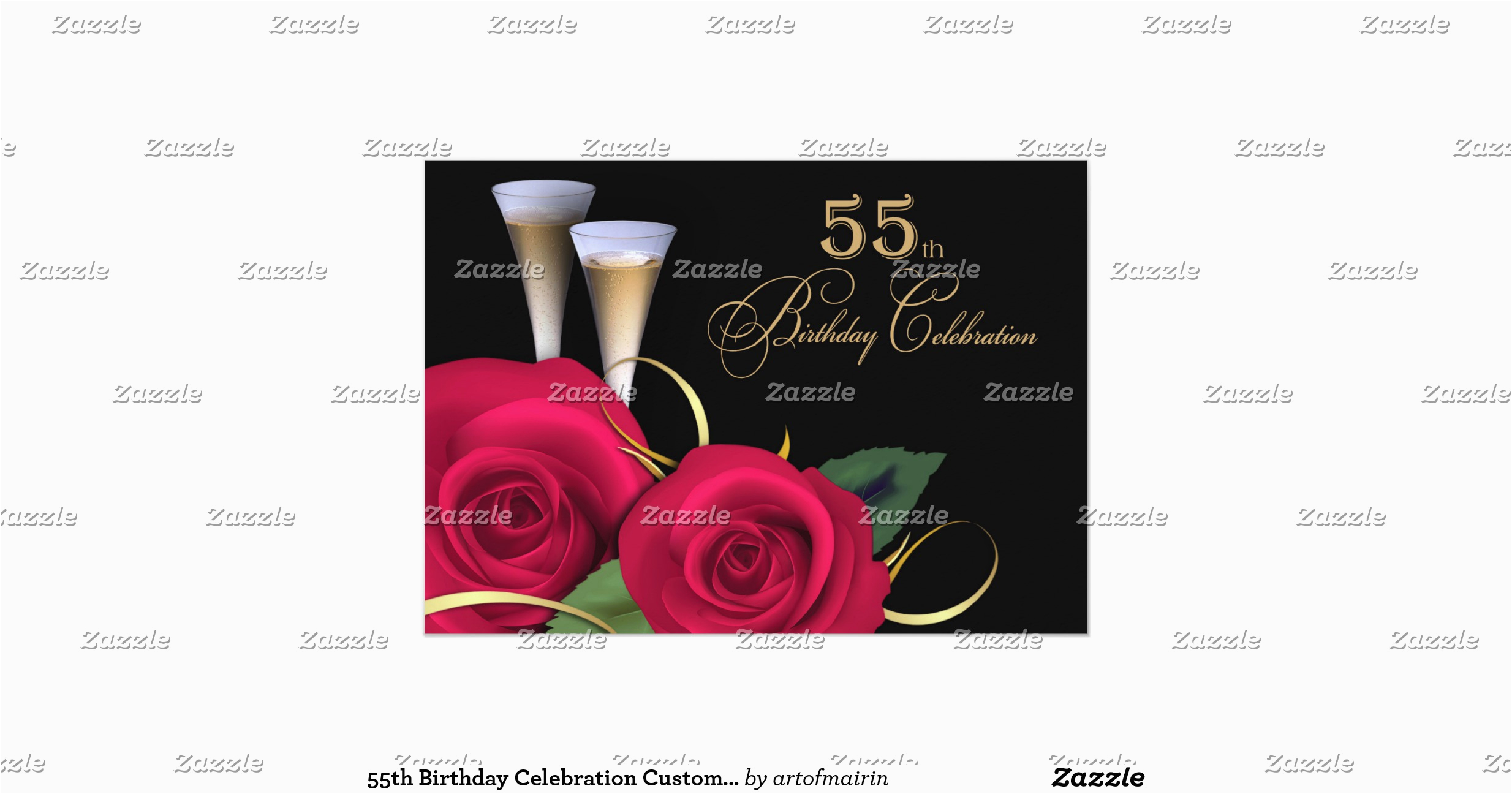 55th Birthday Celebration Custom Invitations 161521665387795628