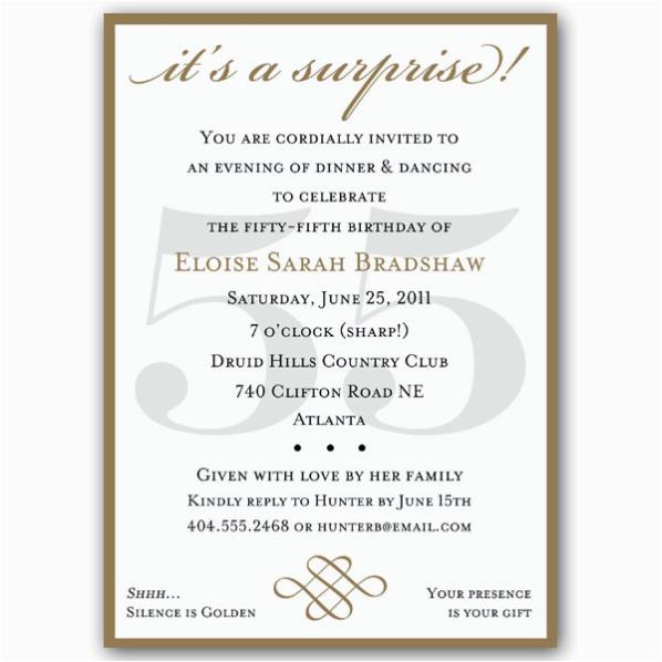 classic 55th birthday gold surprise invitations p 607 57 55sg