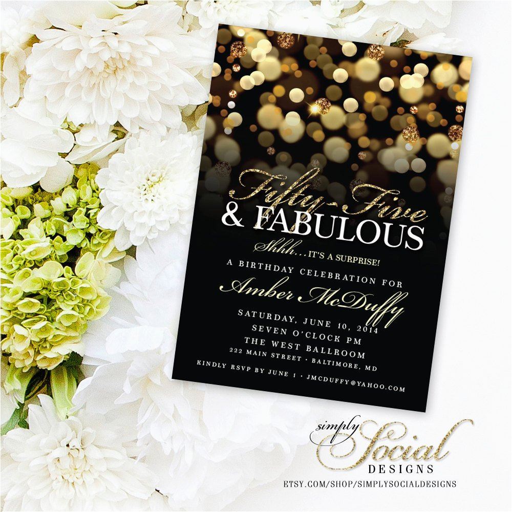 55th Birthday Party Invitations Surprise 55th Birthday Party Invitation with Gold Glitter