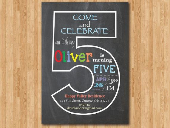 Chalkboard 5th Birthday Invitation Fifth