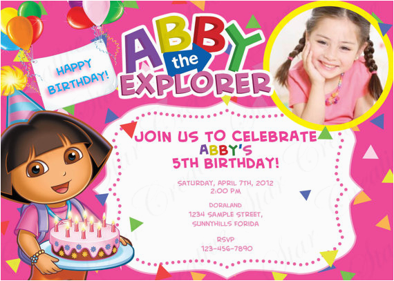 5th Birthday Invitation Wording for Girl Free Dora the Explorer Birthday Invitations Template