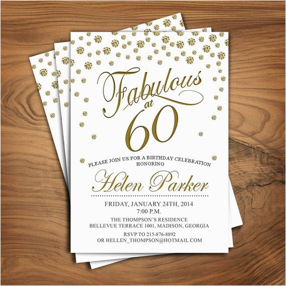 60th birthday invitation any age sixty