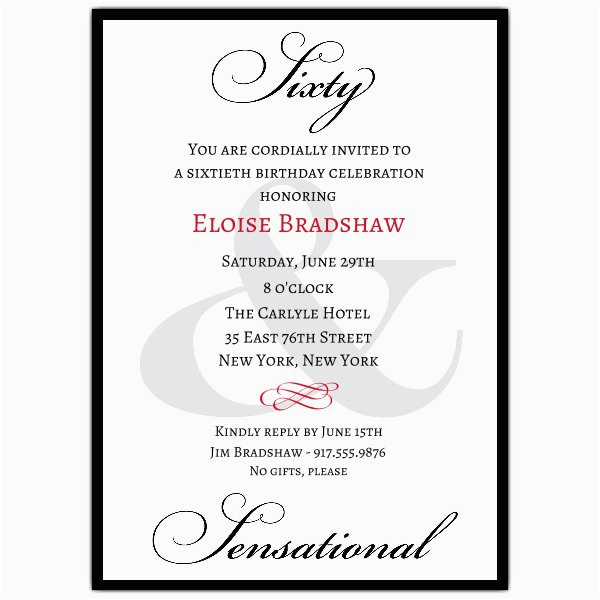 60 Birthday Invitation Wording Classic 60th Birthday Milestone Invitations Paperstyle