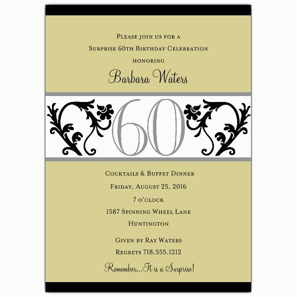60 Birthday Invitation Wording Elegant Vine Chartreuse 60th Invitations Paperstyle