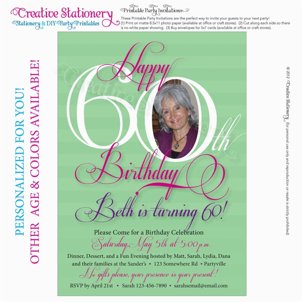 60 Birthday Invitation Wording Cards For 60th