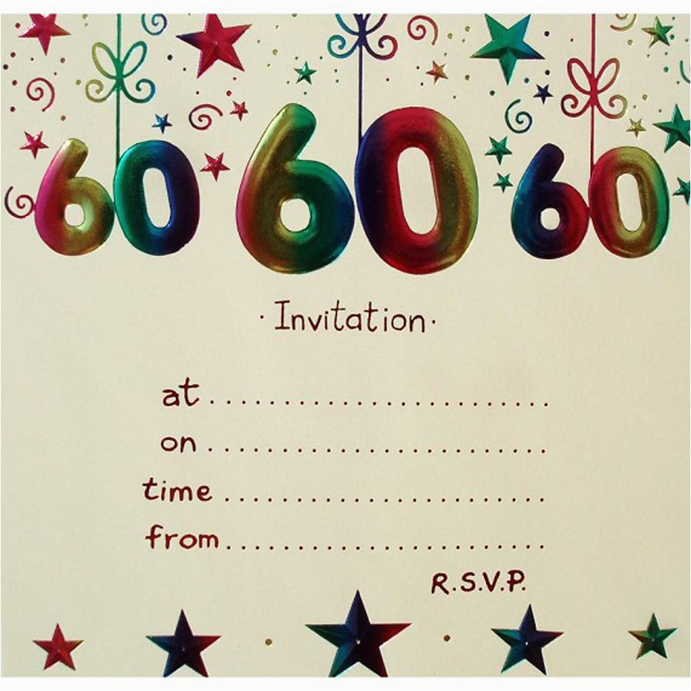 60 Birthday Invitations Templates 20 Ideas 60th Party Card
