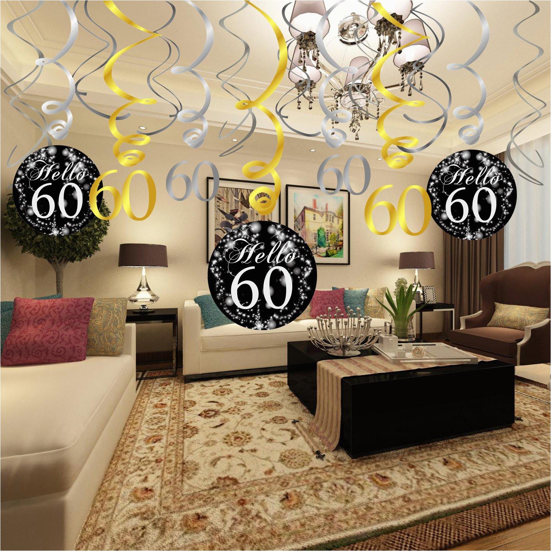 60 Birthday Table Decorations Konsait 60th Decoration Hanging
