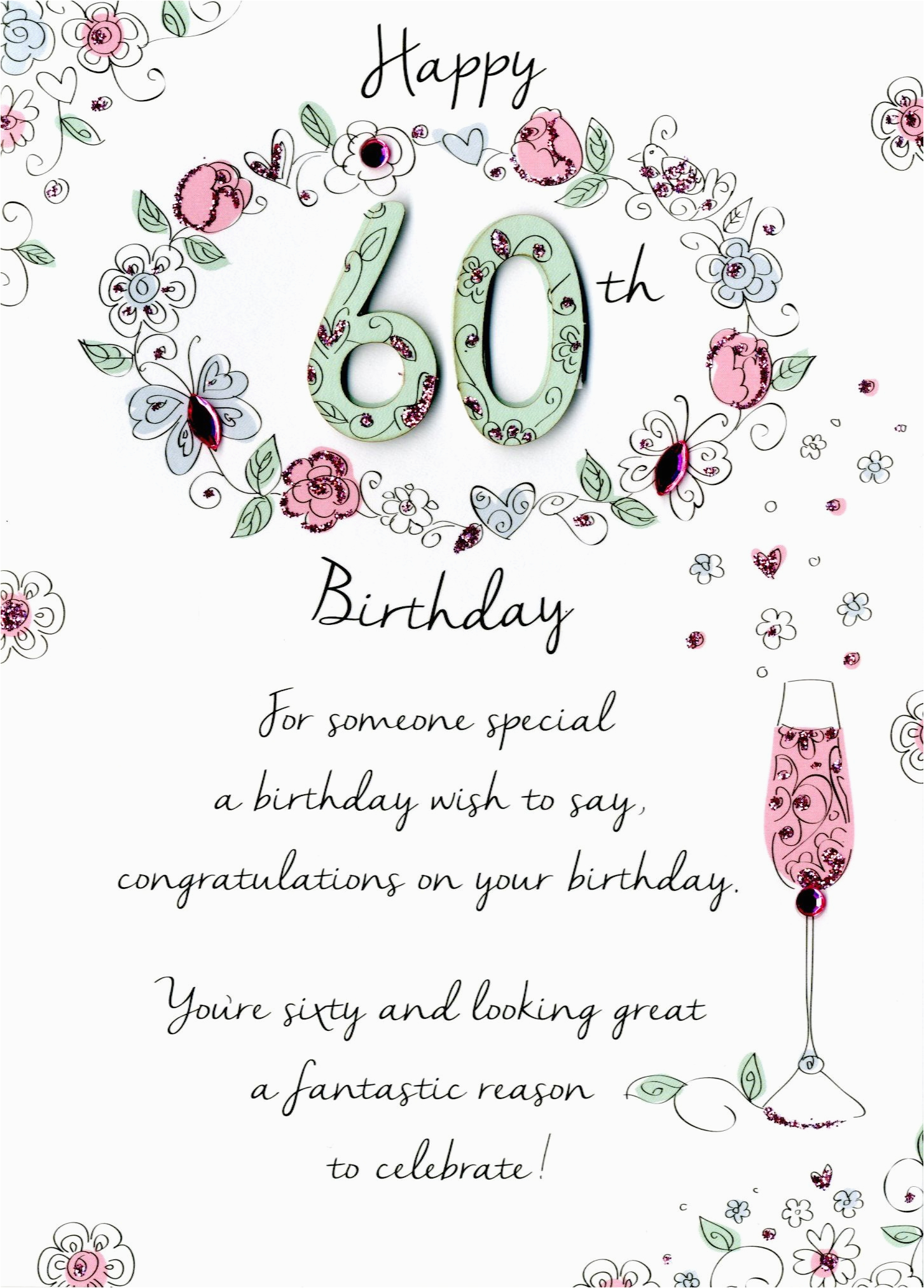 kcsnjt029 female 60th birthday greeting card second nature just to say cards