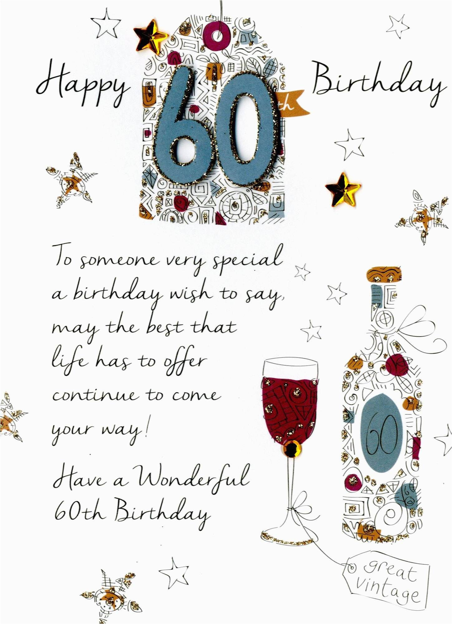 60th Birthday Card Message Male Greeting Cards Love Kates