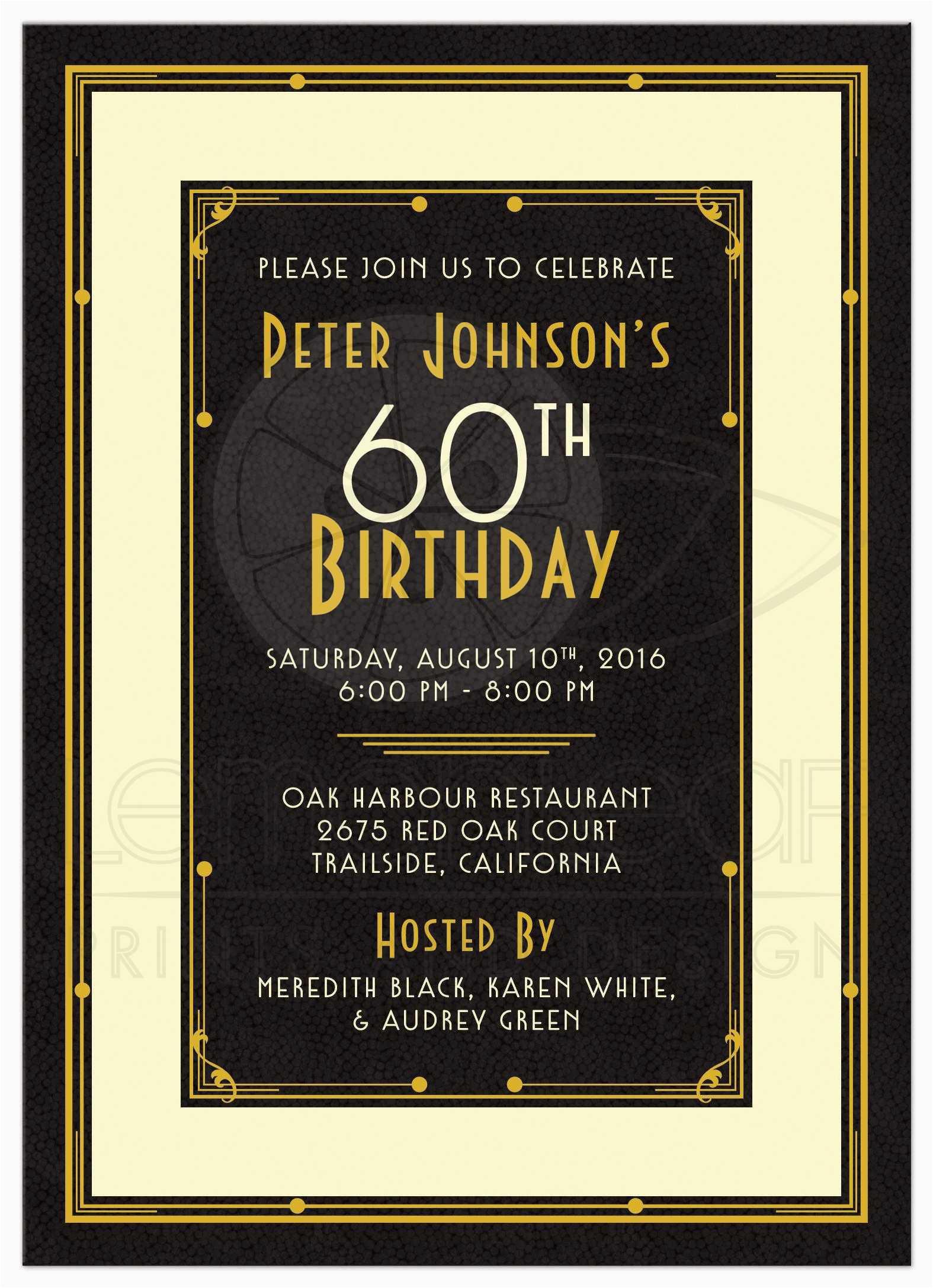 60th Birthday Celebration Invitations Party Templates