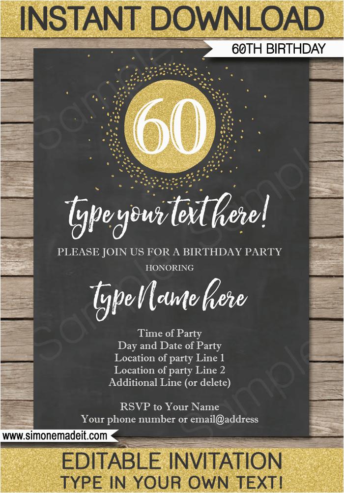 chalkboard 60th birthday invitations