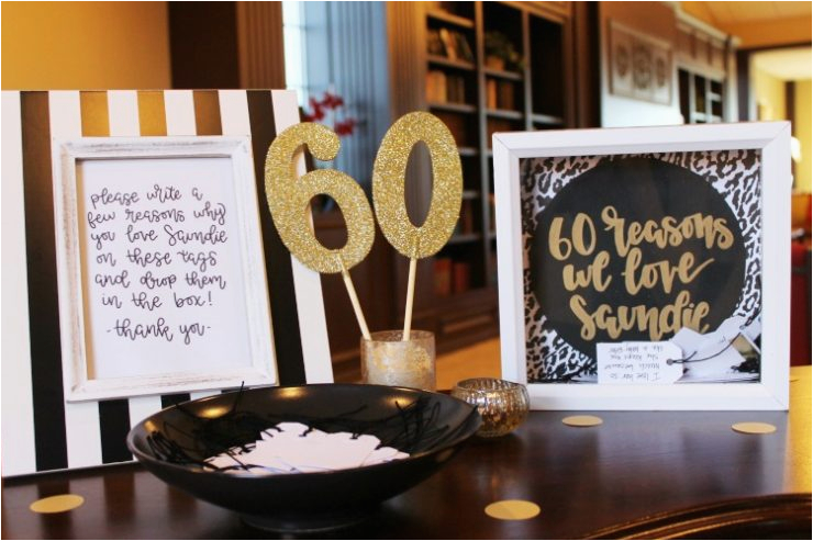 60th Birthday Decorations Black And White Black White And Gold 60th