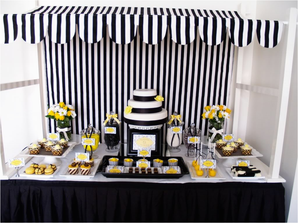 60th Birthday Decorations Black And White Eat Drink Pretty Yellow Dessert Table