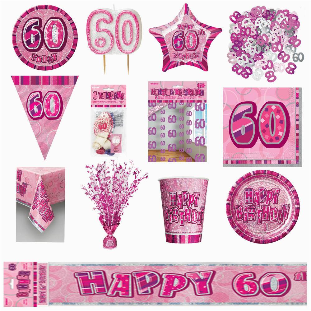 60th Birthday Decorations Cheap Pink Glitz Party Supplies
