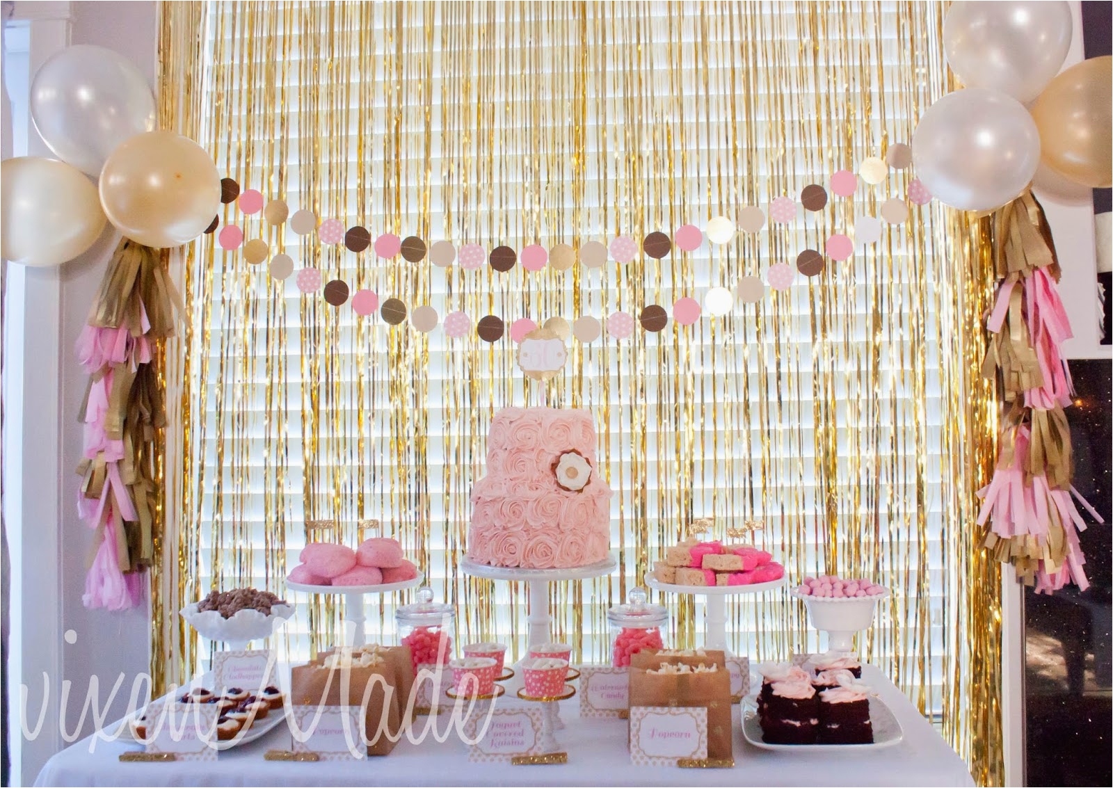 60th Birthday Decorations For Mom Pink Gold Party Vixenmade Parties