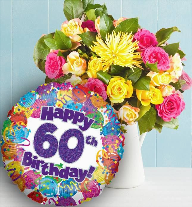 60th Birthday Flowers Delivered And Balloon Available For Uk Wide