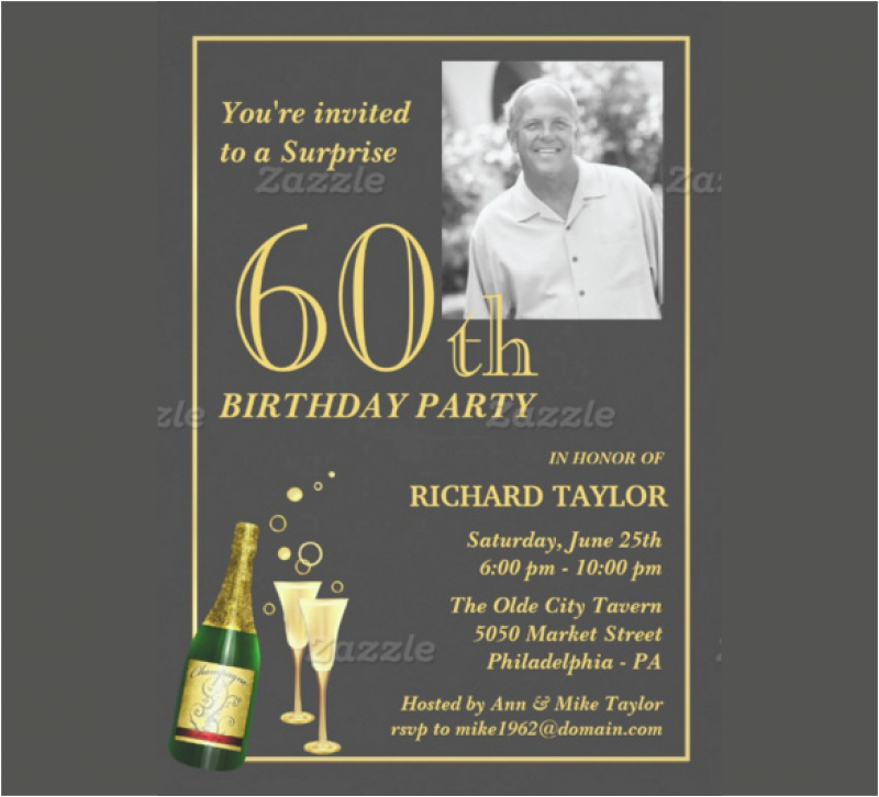 60th Birthday Invitation Templates Surprise Party Template