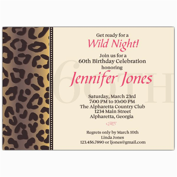 60th Birthday Invitation Wording Samples Cheetah Invitations Paperstyle