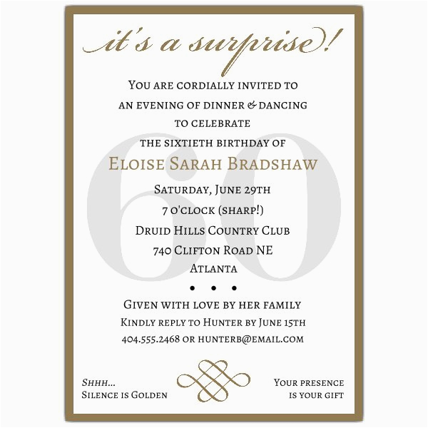 60th Birthday Invitation Wording Samples Classic Gold Surprise Invitations Paperstyle