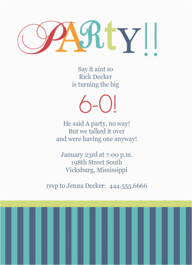60th Birthday Invitation Wording Samples Template For Party