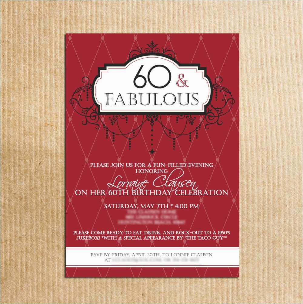 60th Birthday Invitations For Her 20 Ideas Party Card Templates