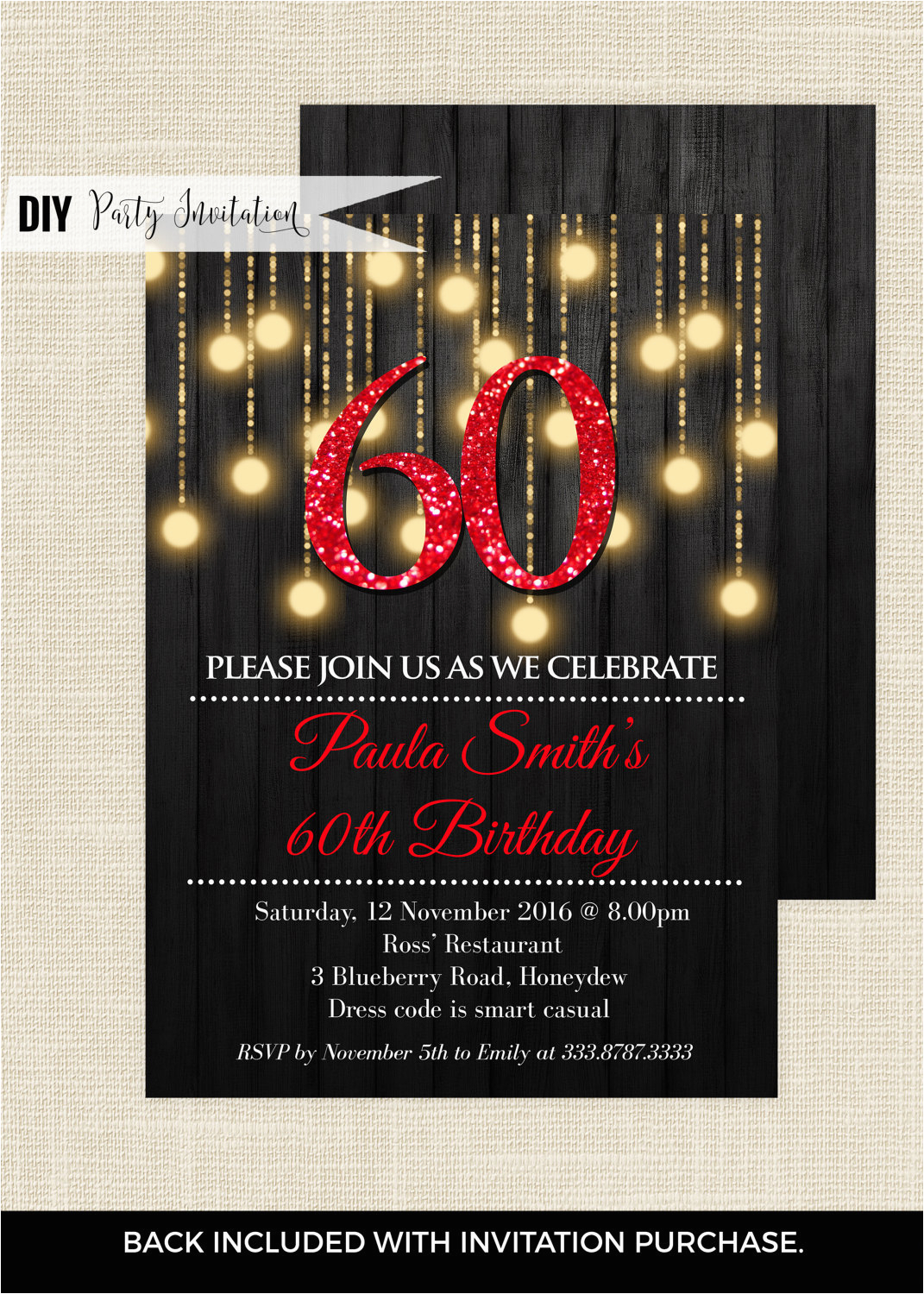60th Birthday Invitations For Her Red