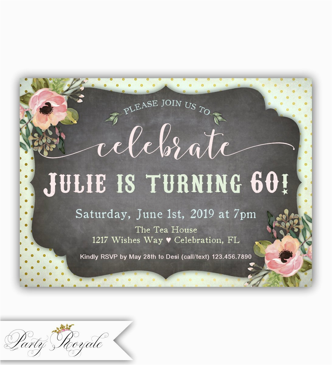 60th birthday invitation for women adult