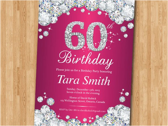 60th birthday invitation women pink