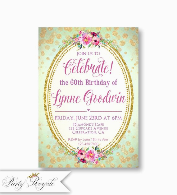 60th Birthday Invitations For Women 39 S Adult