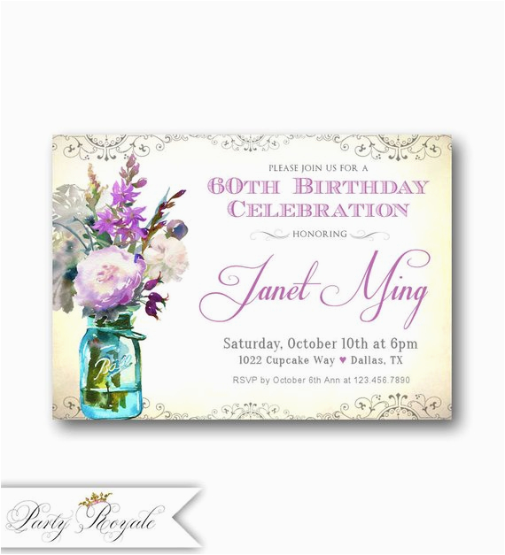 60th Birthday Invitations for Women Women 39 S 60th Birthday Invitations Any Age Vintage