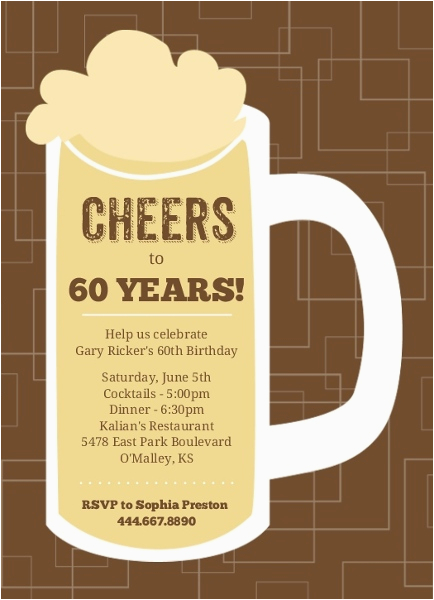 60th Birthday Party Invitations For Her Brown Beers Cheers Invite