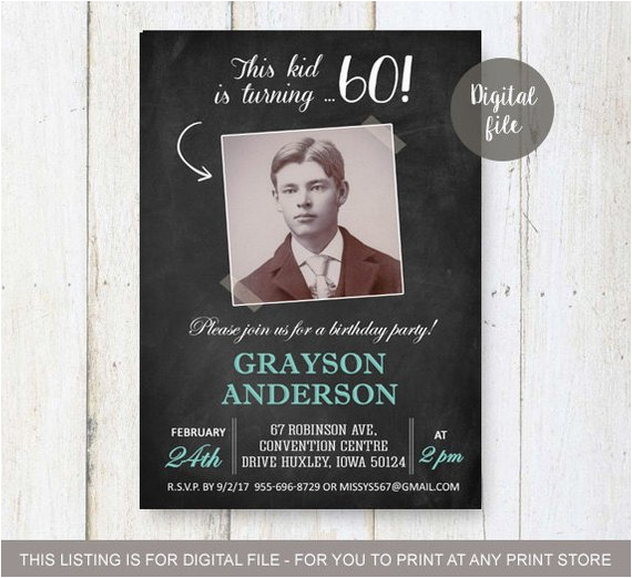 60th Birthday Party Invitations For Him Invitation Men Chalkboard Photo Collage