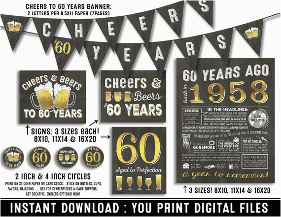 60th Birthday Party Invitations For Him Decorations
