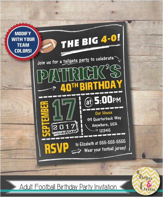 60th Birthday Party Invitations For Him Mens Invitation Football Invite 40th