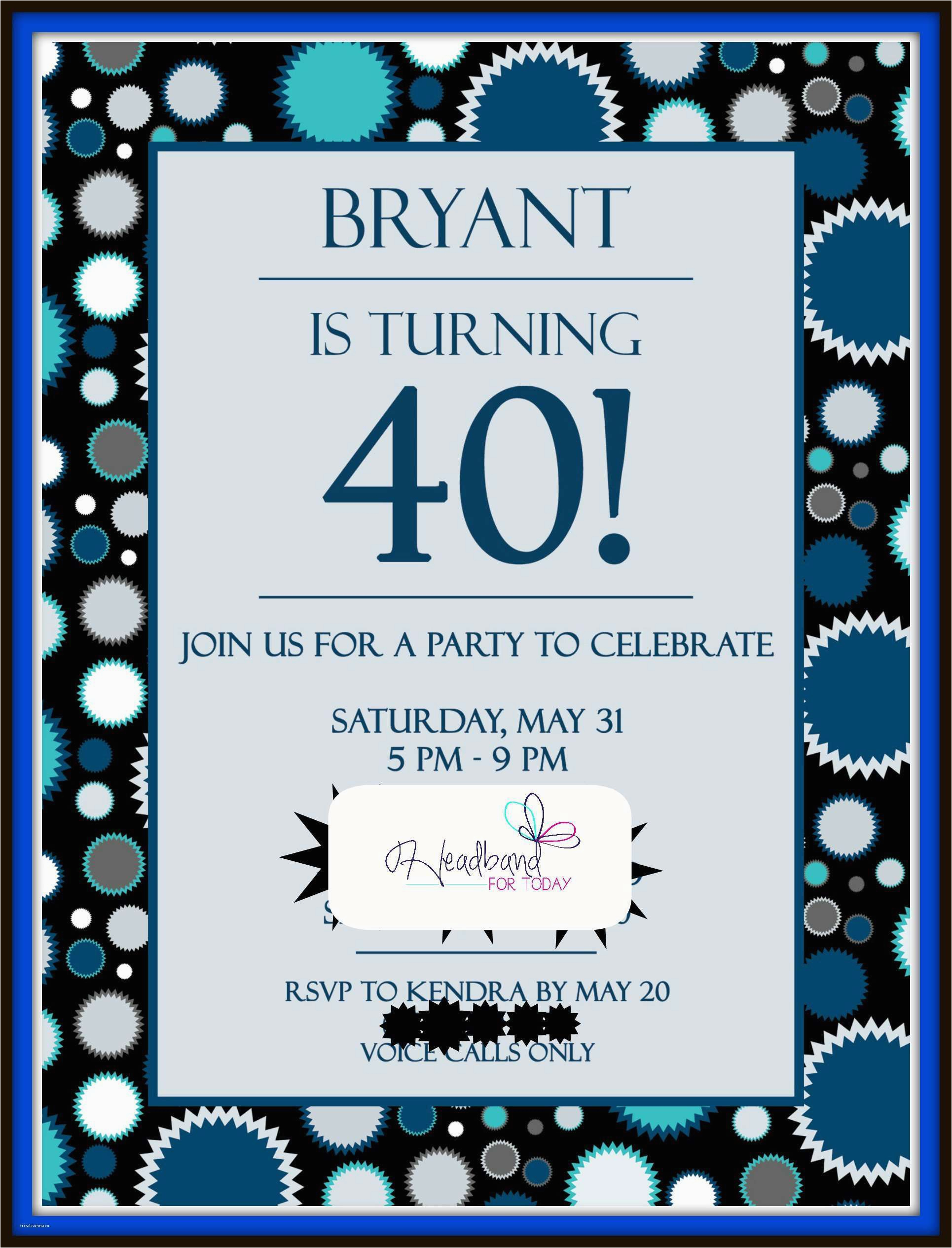 60th Birthday Party Invitations For Him New 40th Creative