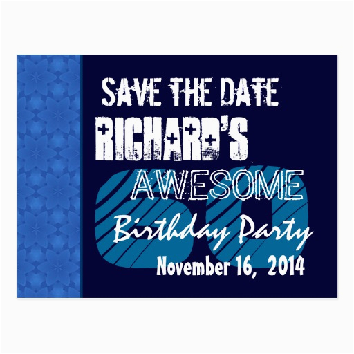 60th birthday save the date blue pattern zazzle