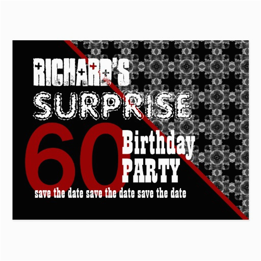 60th surprise birthday save the date diagonal w60f