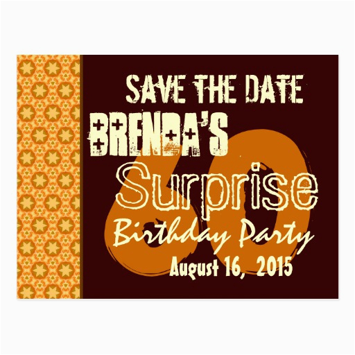 save the date 60th surprise birthday gold stars postcards