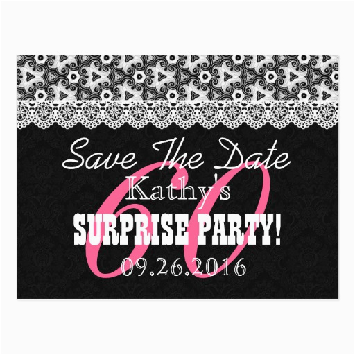 save the date surprise 60th birthday v010c black postcard