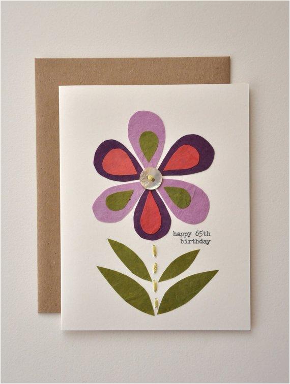 Birthday Card Handmade Greeting Happy 65th