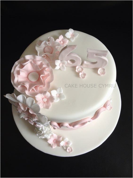 65th birthday cake white pink flowers allies stuff
