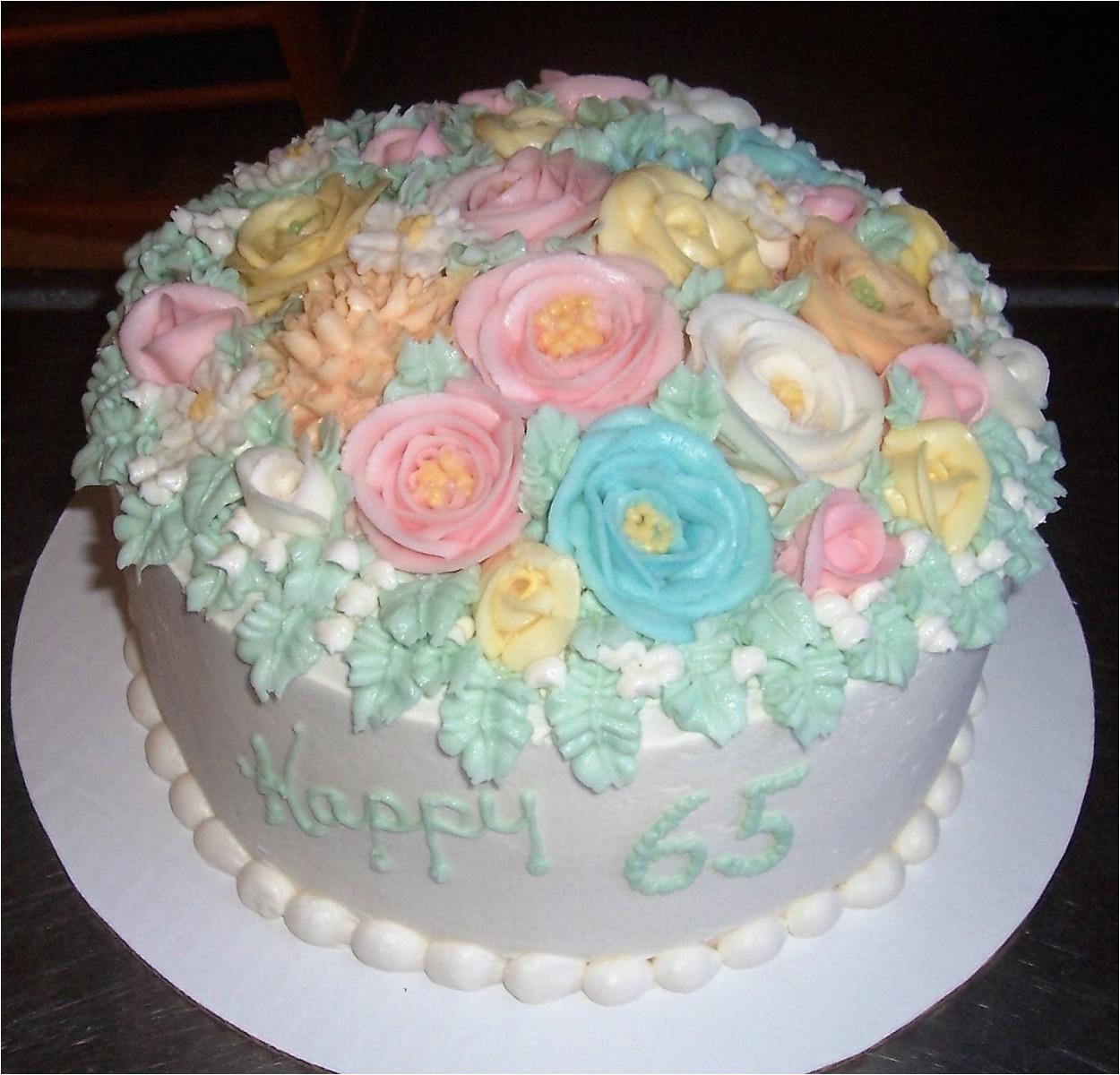 65th birthday flower cake 2 cake decorating community
