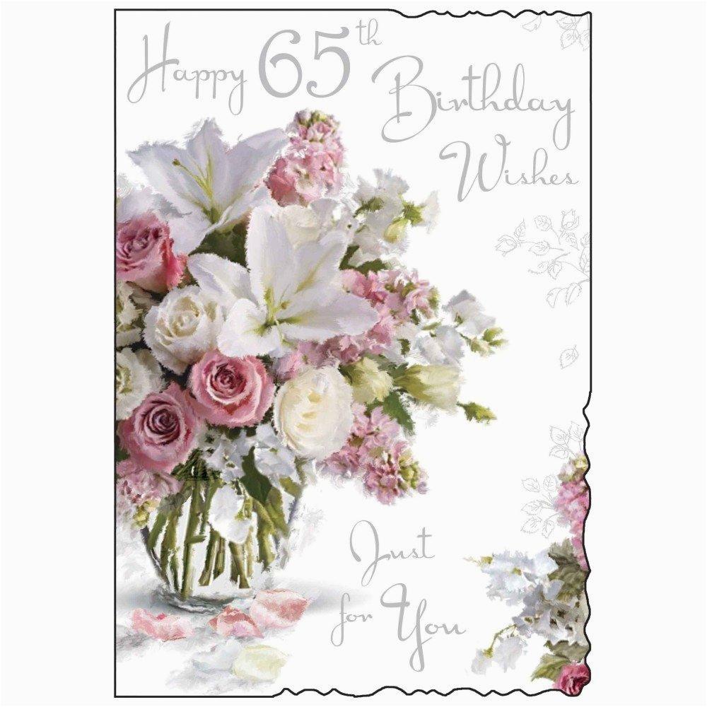 happy 65th birthday card purple flower design ebay