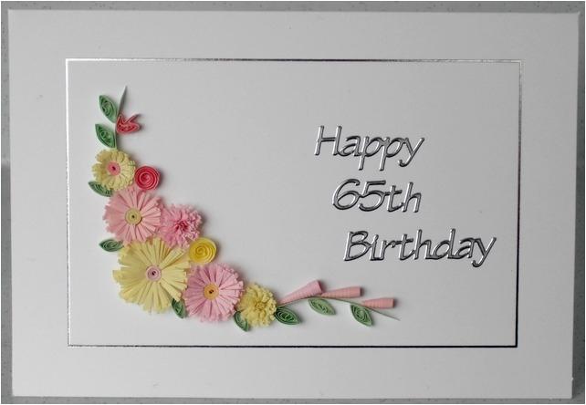 quilled 65th birthday card folksy