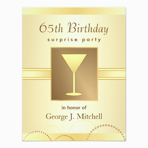 65th Birthday Invitation Wording Surprise Party Invitations Gold 4 25 Quot X 5