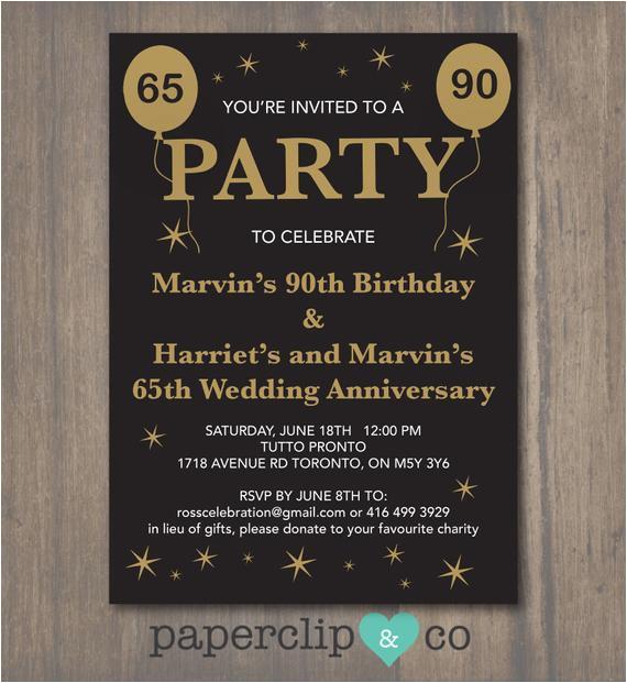 65th Birthday Invitation Wording Anniversary 90th